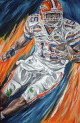 Florida Gators  Paintings - Tim Tebow by David Courson
