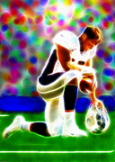 Denver Broncos Drawings Prints - Tim Tebow Magical Tebowing 2 Print by Paul Van Scott