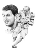 Action Drawings Prints - Tim Tebow Print by Murphy Elliott