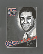 Denver Broncos Painting Prints - Tim Tebow Portrait Print by Herb Strobino