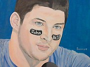 American Football Painting Metal Prints - Tim Tebow Metal Print by Richard Retey