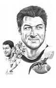 Tim Drawings Posters - Tim Tebow-Tim Tebow Poster by Murphy Elliott