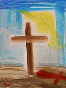 Tebow Drawings Posters - Tim Tebows Cross-Easter Monday Poster by Mary Carol Williams