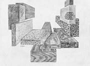 Tile Drawings Prints - Timber and Stone Print by Frank SantAgata