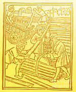 Timber Posters - Timber Haulers, Medieval Tradesmen Poster by Science Source