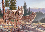Wolves Painting Prints - Timber Ridge Print by Richard De Wolfe