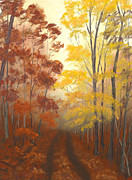 Fall Colors Pastels Posters - Timber Road Poster by Garry McMichael