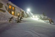 Snowy Night Night Photo Prints - Timberline Lodge Mt Hood Snow Drifts at night Print by Dustin K Ryan