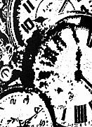 Watches Painting Posters - Time -- Hand-pulled Linoleum Cut Poster by Lynn Evenson