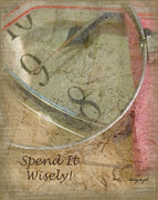 Clock Hands Digital Art Prints - Time - Spend It Wisely Print by Cindy Wright