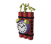 Alarm Clock Photos - Time Bomb With Timer, Cartoon by Equinox Graphics