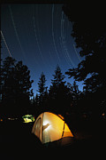 Gesturing Posters - Time Exposure Of A Campers Tent Poster by Rich Reid