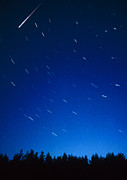 Perseid Meteor Prints - Time-exposure Showing Meteor Track & Star Trails. Print by Pekka Parviainen