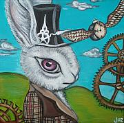 Cogs Painting Framed Prints - Time Flies for the White Rabbit Framed Print by Jaz Higgins