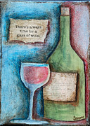 Cork Mixed Media Framed Prints - Time For Wine Framed Print by Sunny Christensen