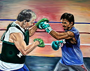 Boxing Gloves Painting Prints - Time in the Ring Print by Dawn Graham