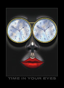 Lips Digital Art Posters - Time In Your Eyes Poster by Mike McGlothlen