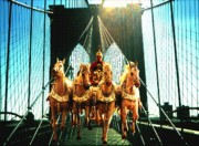 Fine American Art Posters - Time Machine - Roman Horses on Brooklyn Bridge New York - Fantasy Art Poster by Peter Art Prints Posters Gallery