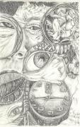 Surrealism Drawings - Time Marches On by Karen Musick