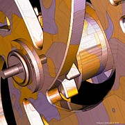 Gears Mixed Media Prints - Time Mechanics - Drum Macro 1 - 03112012 Print by Michael C Geraghty