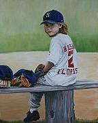 Baseball Glove Painting Posters - Time on the Bench Poster by Charlotte Yealey