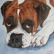 Boxer Paintings - Time Out Again by Vicki Greene