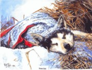 Iditarod Paintings - Time out on the trail by Bob Patterson