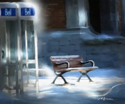 Snow Scene Art - Time Passages - Call Waiting by Bob Salo