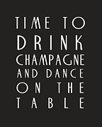 Black And White Digital Art Metal Prints - Time to Drink Champagne Metal Print by Georgia Fowler