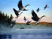 Geese Painting Posters - Time To Go Poster by Richard De Wolfe