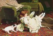 Rugs Prints - Time to Play Print by Charles Burton Barber