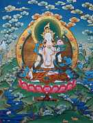 Tibetan Buddhism Paintings - Timeless Beauty. White Tara by Binod Art School