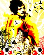 Beautiful Woman Mixed Media Prints - Timeless Flight Print by Chris Andruskiewicz