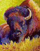 Prairies Painting Posters - Timeless Spirit - Bison Poster by Marion Rose