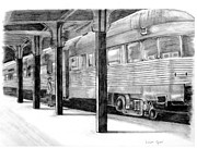 Railroads Drawings Framed Prints - Times Gone By Framed Print by Linda Ginn