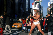 Music Time Posters - Times Sq, Nyc, The Naked Cowboy Entertainer Poster by Rudi Von Briel