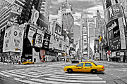 Colorkey Digital Art Metal Prints - Times Square - New York Metal Print by Marcel Schauer