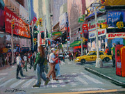 Cities Pastels Posters - Times Square - NYC Poster by Lorrie Turner