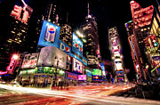 Manhattan Prints - Times Square 2010 New Year Neon Print by Josh Liba
