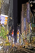 Nyc Digital Art Metal Prints - Times Square Abstract Metal Print by Robert Ponzoni