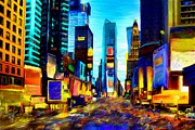 Manhatten Mixed Media Prints - Times Square Print by Andrea Meyer