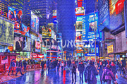 Cityscape Pyrography Prints - Times Square Print by Bill Unger