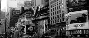 Broadway Framed Prints - Times Square Black and White Framed Print by Andrew Fare