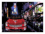 Cities Painting Acrylic Prints - Times Square ....Cadillac Acrylic Print by Mike Hill