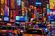 Manhatten Painting Framed Prints - Times square Framed Print by Debra Hurd