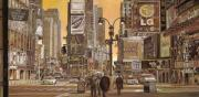 Usa Painting Metal Prints - Times Square Metal Print by Guido Borelli