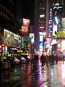New York City Rain Prints - Times Square in the rain 1 Print by Anita Burgermeister