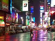 New York Buildings Prints - Times Square in the rain 2 Print by Anita Burgermeister