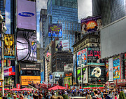 Crowds  Digital Art Prints - Times Square Print by Joe Paniccia