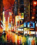 Leonid Afremov Metal Prints - Times Square Metal Print by Leonid Afremov